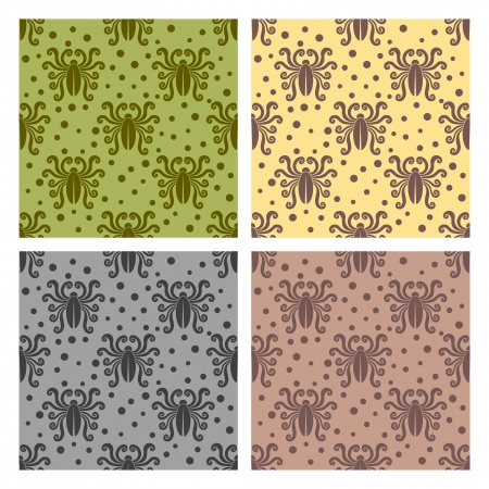 Insect pattern. Cockroach style. Vector seamless.