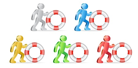 financial emergency: People and life preserver. Theme support. Group of people in different colors. Vector Illustration. Illustration
