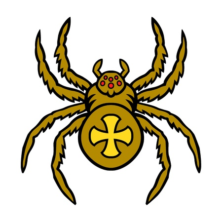 Spider. This is vector illustration ideal for a mascot and tattoo or T-shirt graphic. Vector