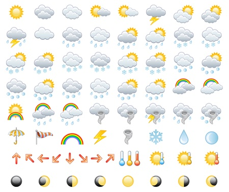 Meteorology Icons Set  Vector Illustration
