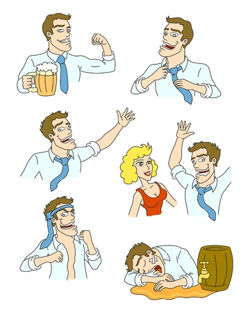 The adventures of drunkards  How alcohol changes people  Vector illustration