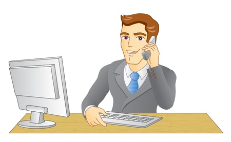 Businessman working in office  In the workplace  Smiling man speak on telephone  Vector illustration