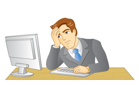 tiredness: Businessman working in office  In the workplace  Frustrated and tired man  Vector illustration  Illustration