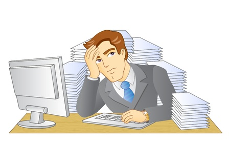 tiredness: Businessman working in office  In the workplace