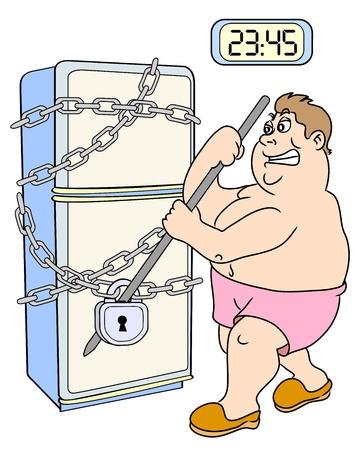 The fat man trying to unlock refrigerator. Night meal. Vector illustration. Ilustração
