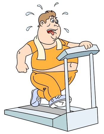 The fat man on the trainer treadmill.