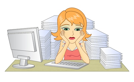 Business woman in office  In the workplace  Thinking woman  A pile of documents  Frustrated and tired woman  Vector illustration  Vettoriali