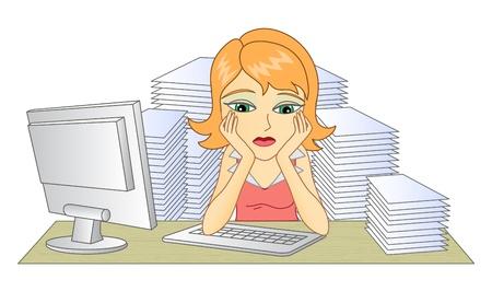 cansancio: Mujer de negocios en la oficina en el pensamiento de la mujer el lugar de trabajo Una pila de documentos Frustrado y cansado mujer ilustración vectorial