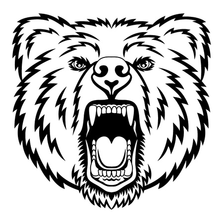 fangs: A Bear head logo. This is illustration ideal for a mascot and tattoo or T-shirt graphic.