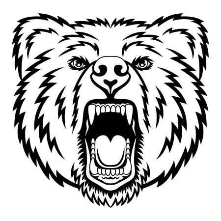 bear silhouette: Una testa logo Orso. Si tratta di illustrazione ideale per una mascotte e tatuaggio o T-shirt grafica. Vettoriali