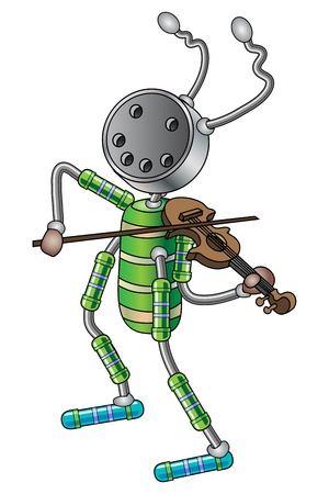 The robot plays the violin illustration. Stock Vector - 19143343