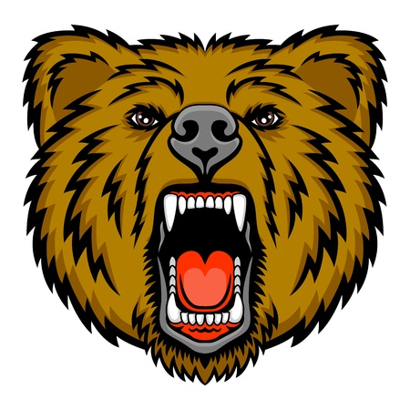 A Bear head logo  This is vector illustration ideal for a mascot and tattoo or T-shirt graphic Imagens - 19216570