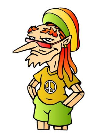 marihuana: Grappig reggae marionet Rastafari Een symbool van vrede Vector illustratie