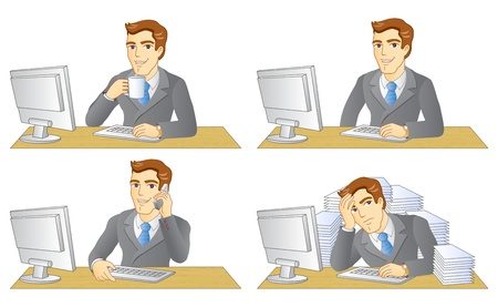 overwork: Businessman working in office. In the workplace. Vector illustration. Illustration