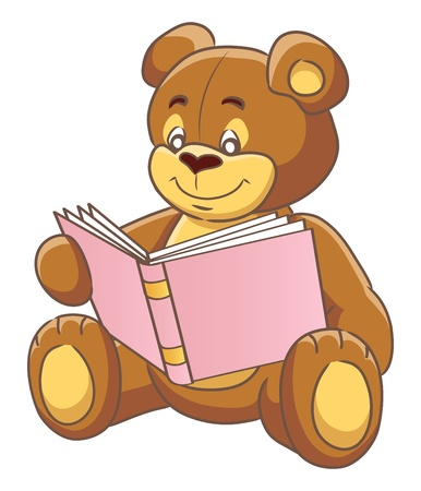 Teddy bear reading a book. Vector illustration. Vector