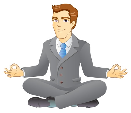 Businessman is meditating and relaxing in lotus pose  Business yoga  Vector illustration