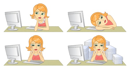 weariness: Business woman in office  In the workplace  Thinking woman   Vector illustration  Illustration