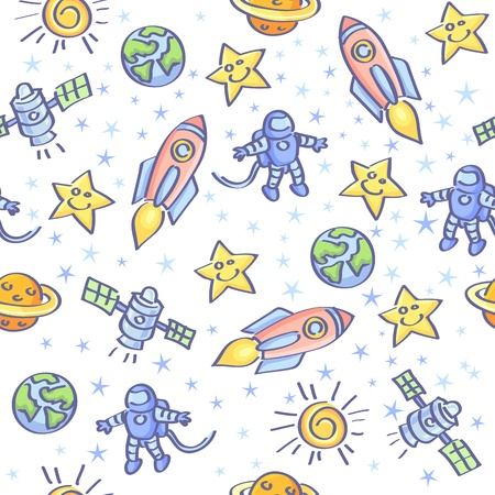 Space theme  Vector seamless pattern   Vector