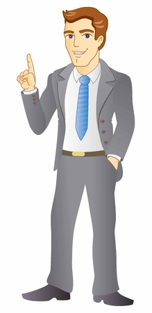 Smiling businessman pointing the finger.  Stock Vector - 19364393