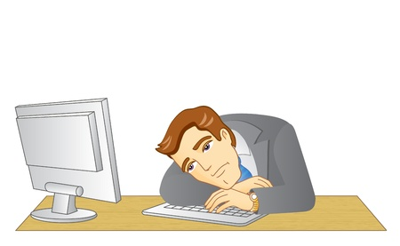 Businessman working in office. In the workplace. Frustrated and tired man.  Illustration