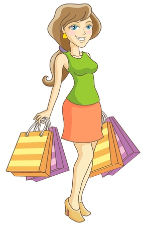 shoppingbag: The girl with purchases. Vector illustration. Illustration