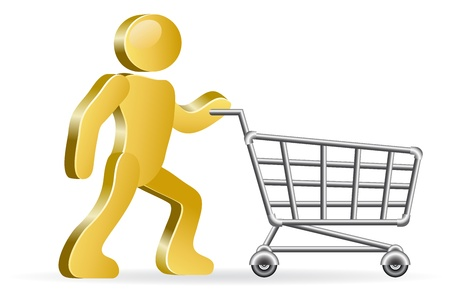 purchaser: Isometric human and shopping cart.  Illustration