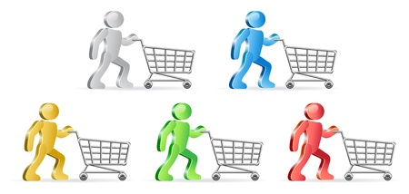 connexion: Isometric humans and shopping carts. Group of people in different colors.