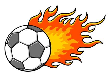 fire ball: Flaming football (soccer) ball. Vector illustration.