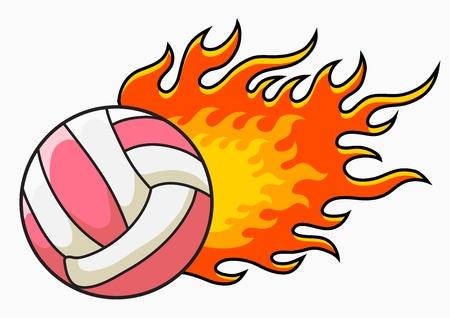 flaming volleyball vector illustration royalty free cliparts rh 123rf com free flaming volleyball clipart Volleyball Mascot