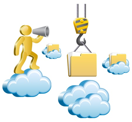 Human standing on a cloud and shouting in megaphone  Isometric human uploads the files to the cloud  Vector illustration  Illustration