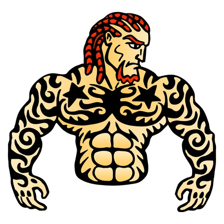Tattoo macho  Serious man  Power and muscles  Mascot for sports club illustration  Vector