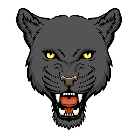 A Panther head logo  This is illustration ideal for a mascot and tattoo or T-shirt graphic  Vector
