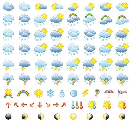 kropla deszczu: Ikony Meteorologia Ustaw. Ilustracja.
