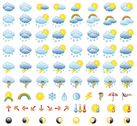 Meteorology Icons Set. Illustration. Vettoriali