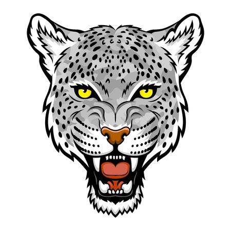 雪ヒョウの頭部のロゴの図はマスコット、タトゥー t シャツ グラフィックに最適です  イラスト・ベクター素材