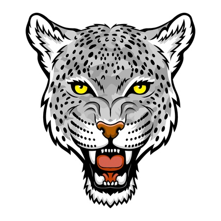 snow leopard: A Snow leopard head logo  This is illustration ideal for a mascot and tattoo or T-shirt graphic