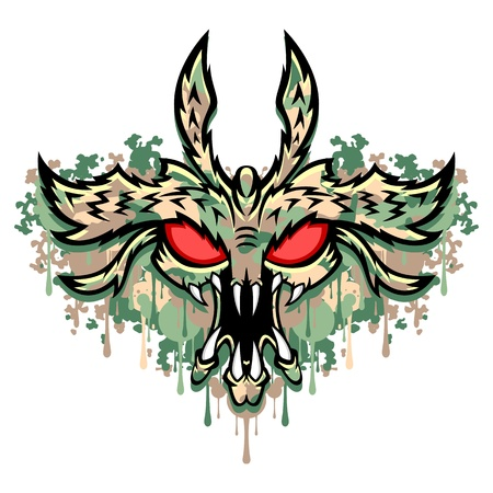 The head of the monster  This is illustration ideal for a mascot and tattoo or T-shirt graphic