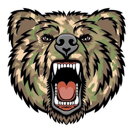 熊頭ロゴ ミリタリーファッション イラスト マスコット、タトゥー t シャツ グラフィックに最適です