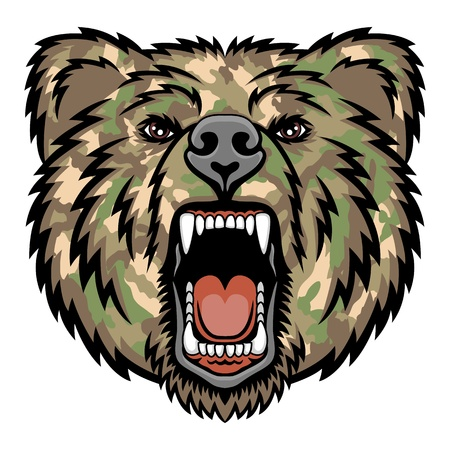 carnivores: A Bear head logo   Military style  This is illustration ideal for a mascot and tattoo or T-shirt graphic