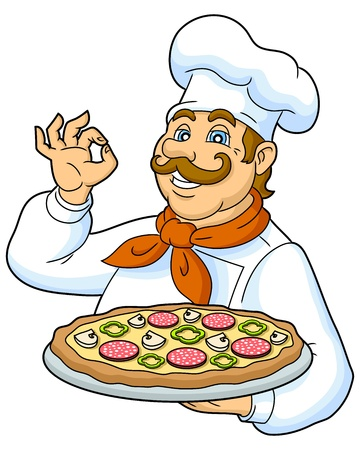 baker: Cook pizza on a plate  Funny chef presenting a delicious pizza  Designed to decorate the restaurant menus