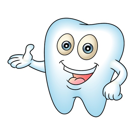 Tooth mascot pointing.  Perfect for a dental or tooth fairy illustration.  Vector