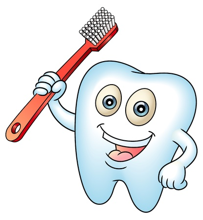 diente caricatura: Sonriendo dientes mascota dientes con un cepillo de dientes. Limpie los dientes por concepto de salud. Perfecto para un ejemplo de hadas dental o dientes. Vectores