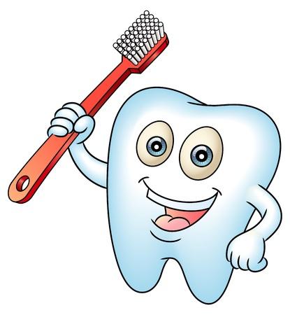zuby: Usmívající se zub maskota zuby s kartáčkem na zuby. Čisté zuby pro zdravotní koncepci. Ideální pro stomatologická nebo zubní víla ilustraci.