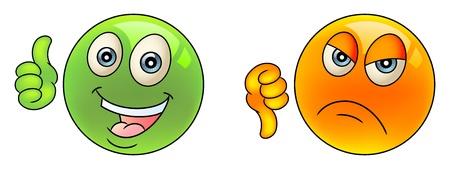 good bad: Smiley face. Comme la diff�rence. Pouces vers le haut et vers le bas.