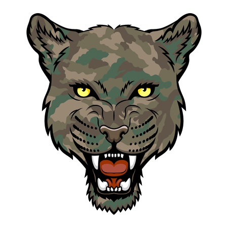 head for: A Panther head logo  This is illustration ideal for a mascot and tattoo or T-shirt graphic