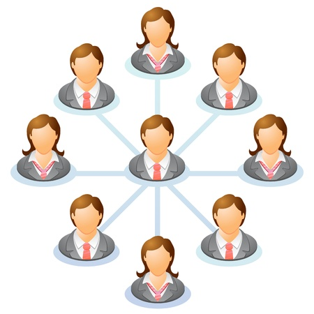 Teamwork flow chart. Network of people. Spider Diagram. Vector illustration. Ilustração