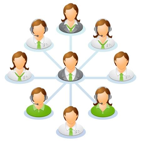 Teamwork flow chart  Network of people  Spider Diagram Stock Vector - 21358212