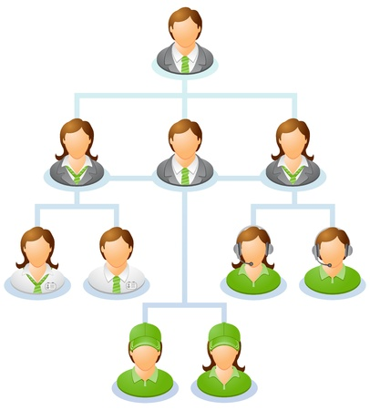 Teamwork flow chart  Network of people  The hierarchical diagram  The hierarchical organization management system   Illustration