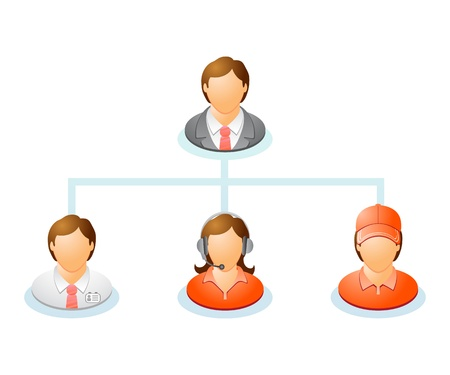 Teamwork flow chart  Network of people  The hierarchical diagram  The hierarchical organization management system   Vector