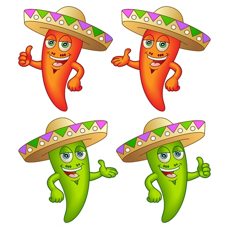 Happy chili peppers with hats  Great for any menu